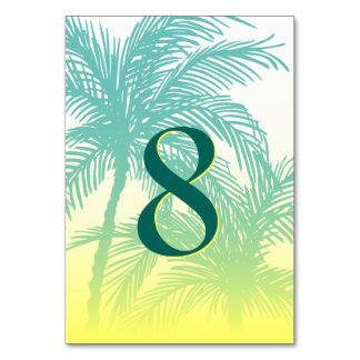 Yellow Teal Blue Palm Tree Table Numbers