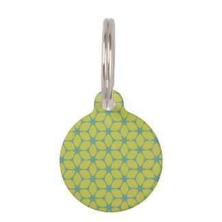 Yellow/Teal Geometric Flower Pet Tag