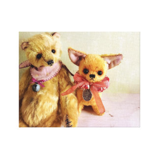 Yellow Teddy Bear and Chihuahua Canvas Print