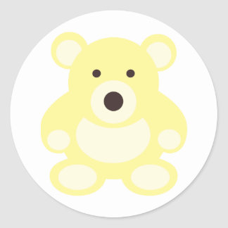 Yellow Teddy Bear Classic Round Sticker