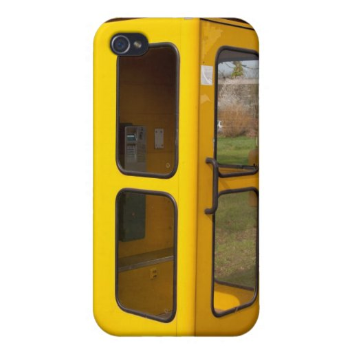 Yellow telephone booth case for iPhone 4