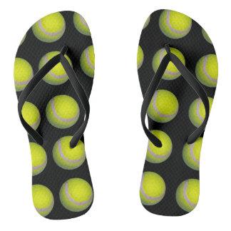 Yellow Tennis Ball Pattern, Flip Flops