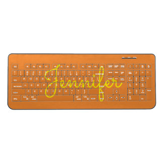 Yellow Text Custom Name on Orange Background Wireless Keyboard