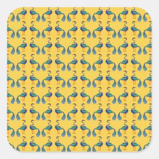 Yellow textile square sticker