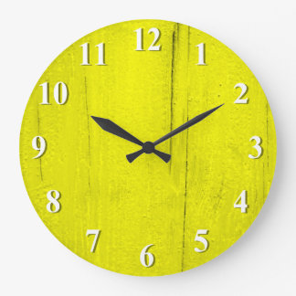 Yellow Textured Wood Large Clock