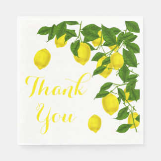 Yellow Thank You Lemon Green Wedding Party Disposable Napkin