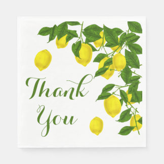 Yellow Thank You Lemon Green Wedding Party Paper Napkins
