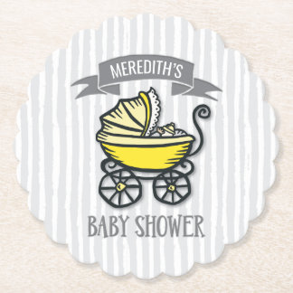 Yellow-Themed Baby Shower Paper Coaster
