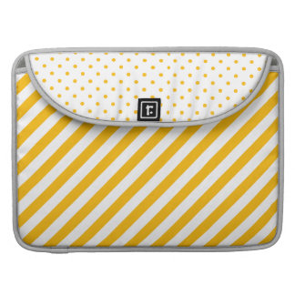 Yellow Thick Stripes and Polka Dot Laptop Sleeve  