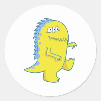 yellow three eyed dino monster classic round sticker