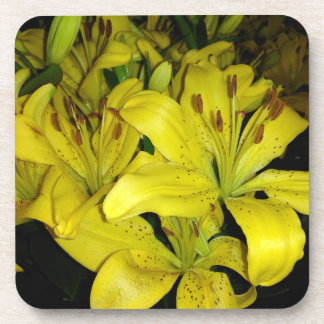 Yellow Tiger Lilies Beverage Coaster
