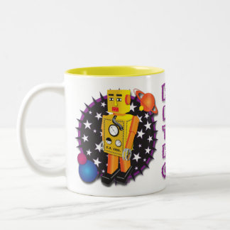 Yellow Tin Robot Mug Design