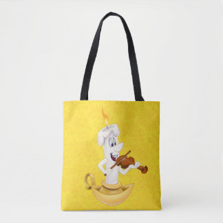 Yellow tote bag with cartoon candle