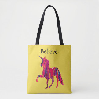 Yellow Tote Bag with Colorful Unicorn and Believe
