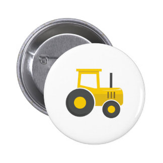 Yellow Tractor 2 Inch Round Button