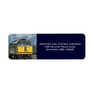 Yellow Train Birthday Return Address Labels Blue
