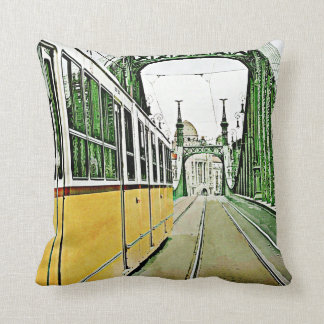 yellow tram on the Liberty bridge Throw Pillow