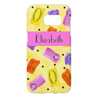 Yellow Travel Passport Stamps Name Personalized Samsung Galaxy S7 Case