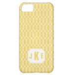 Yellow Trellis Pattern Monogram IPhone 5 Case