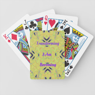 """Yellow Trendy """"I Am Transforming"""" Abstract Hip Des Poker Deck"""