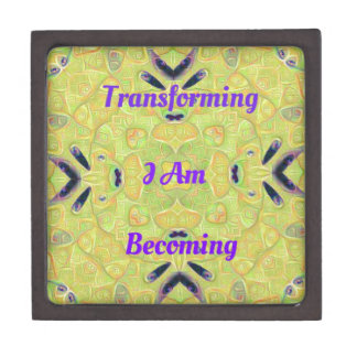 "Yellow Trendy ""I Am Transforming"" Abstract Hip Des Premium Gift Box"