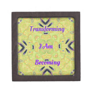 "Yellow Trendy ""I Am Transforming"" Abstract Hip Des Premium Keepsake Box"