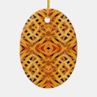 Yellow tribal shapes pattern ceramic oval ornament