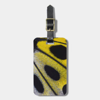 Yellow tropical butterfly close-up bag tag