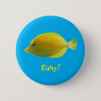 Yellow Tropical Fish 2 Inch Round Button