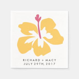Yellow Tropical Hibiscus Flower Wedding Napkins Disposable Napkins