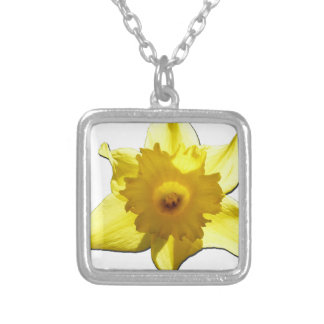 Yellow Trumpet Daffodil 1.0 Silver Plated Necklace