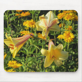 Yellow Trumpet Lilies, False Sunflower Mouse Pad