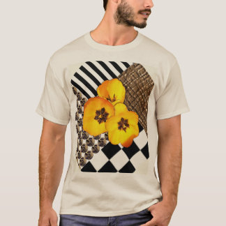 Yellow Tulip Collage on Tan Shirt