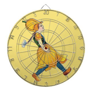 Yellow Tulip Cute Flower Child Floral Funny Girl Dartboard