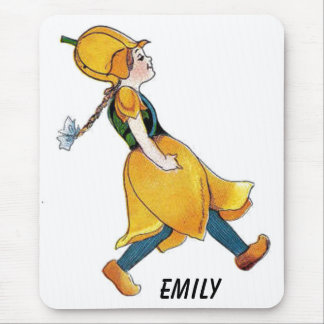 Yellow Tulip Cute Flower Child Floral Funny Girl Mouse Pad