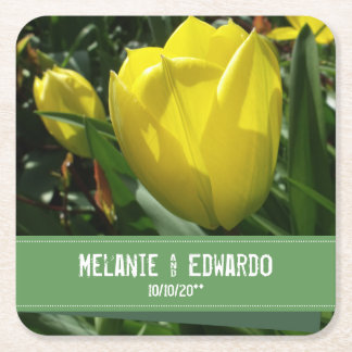 Yellow Tulip Flower Wedding Square Paper Coaster