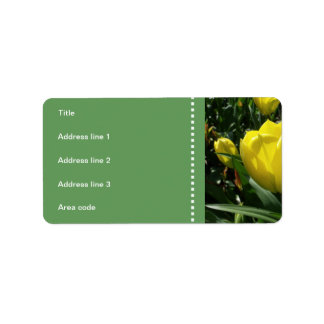 Yellow Tulip Flowers Wedding Label