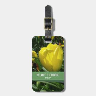 Yellow Tulip Flowers Wedding Luggage Tag