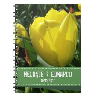 Yellow Tulip Flowers Wedding Notebook
