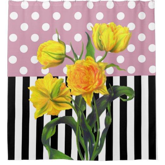 yellow tulip polka dot