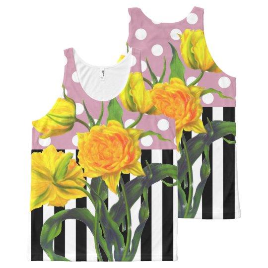 yellow tulip polka dot All-Over-Print tank top
