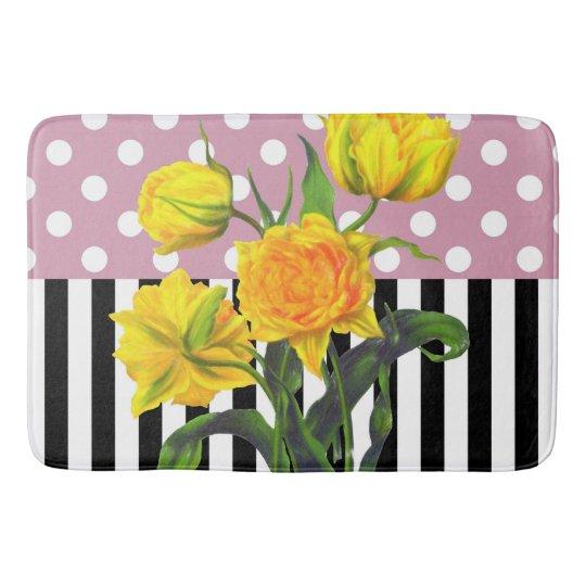 yellow tulip polka dot bath mat
