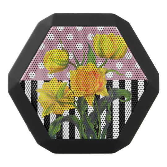 yellow tulip polka dot black bluetooth speaker