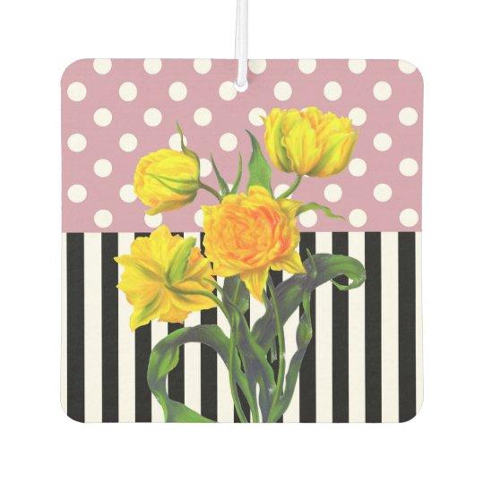 yellow tulip polka dot car air freshener