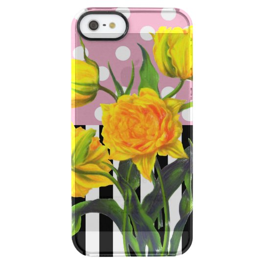 yellow tulip polka dot clear iPhone SE/5/5s case