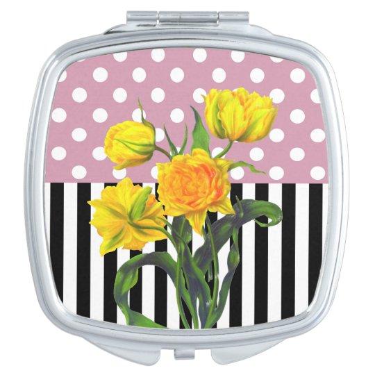 yellow tulip polka dot compact mirrors