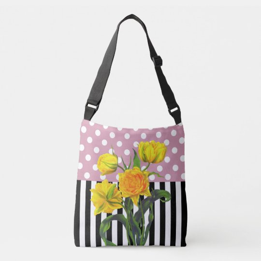yellow tulip polka dot crossbody bag