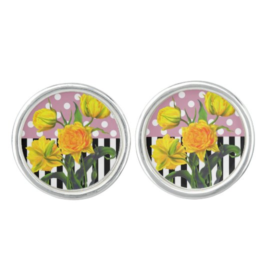 yellow tulip polka dot cufflinks