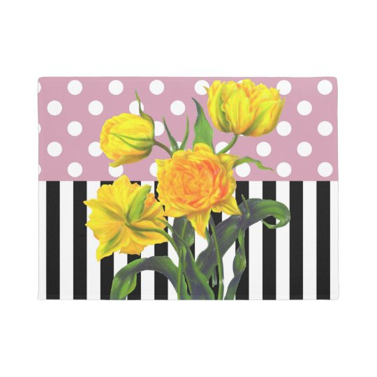 yellow tulip polka dot doormat