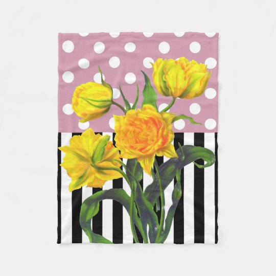 yellow tulip polka dot fleece blanket